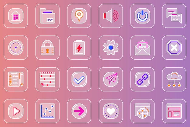 Conjunto de ícones glassmorphic da interface do usuário da web