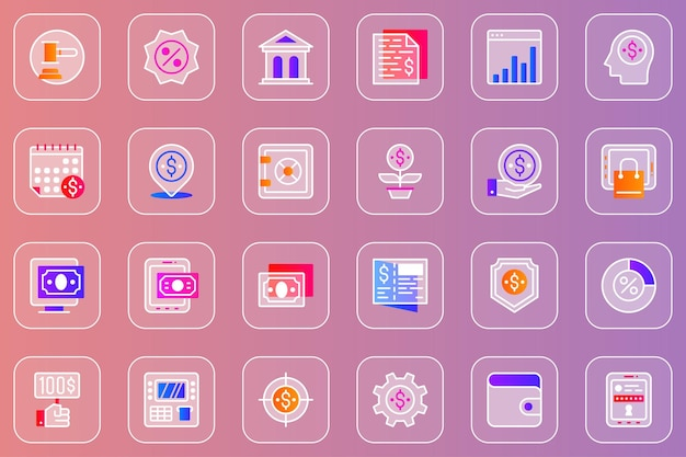 Conjunto de ícones glassmorphic da web de banco on-line