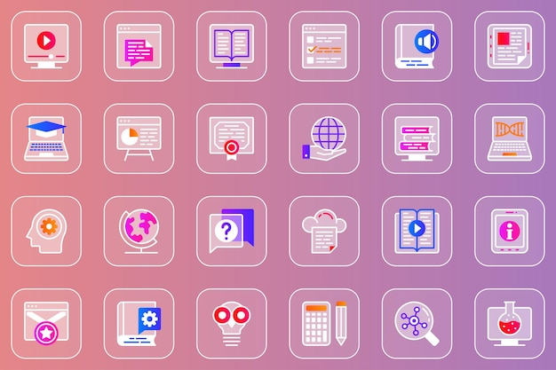 Conjunto de ícones glassmorphic da web de educação online