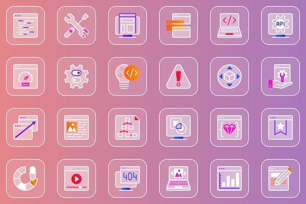 Conjunto de ícones glassmorphic de desenvolvimento web