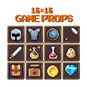 Conjunto de ícones gráficos de pixel de 8 bits ilustração em vetor isolada armas de poções de arte de jogo