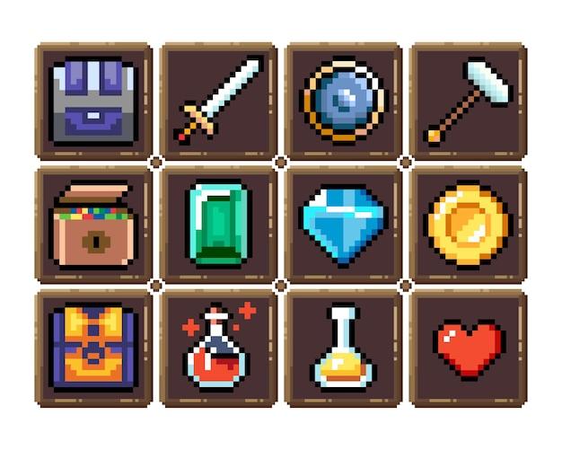 Conjunto de ícones gráficos de pixel de 8 bits ilustração em vetor isolada arte do jogo armas e poções de joias