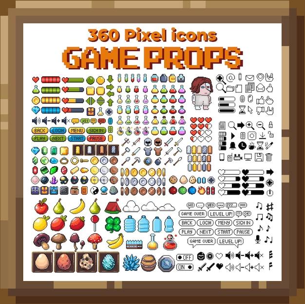 Conjunto de ícones gráficos de pixel de 8 bits ilustração em vetor isolada arte do jogo armas joias