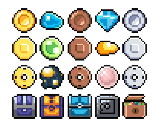 Conjunto de ícones gráficos de pixel de 8 bits ilustração em vetor isolada arte do jogo baús diamantes ouro