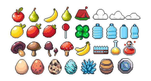 Conjunto de ícones gráficos de pixel de 8 bits ilustração em vetor isolada frutas elixir poções cogumelos