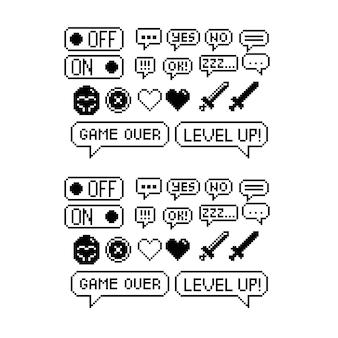 Conjunto de ícones gráficos de pixel de 8 bits ilustração em vetor isolada imagem em preto e branco da arte do jogo