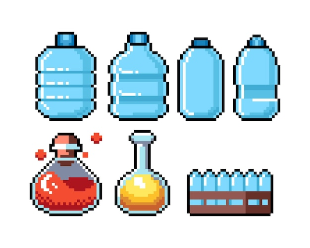 Conjunto de ícones gráficos de pixel de 8 bits. ilustração isolada do vetor. arte do jogo. elixir, poção,