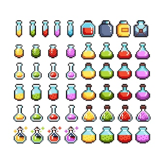Conjunto de ícones gráficos de pixel de 8 bits. ilustração isolada do vetor. arte do jogo. poções, elixires.
