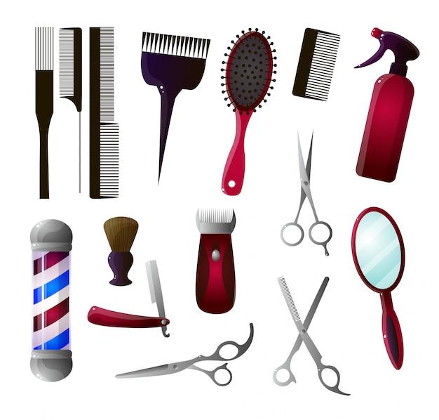 Conjunto de ícones grandes coloridos e barbeiro