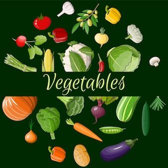Conjunto de ícones grandes de vegetais.