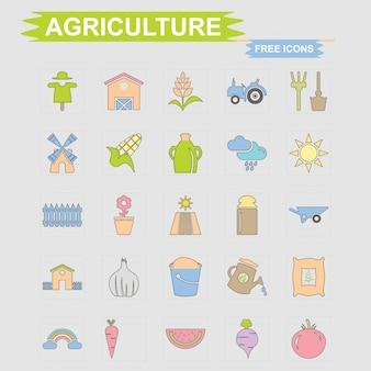 Conjunto de ícones grátis de agricultura