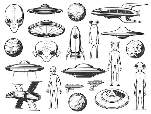 Conjunto de ícones gravados de alienígenas, naves extraterrestres e planetas