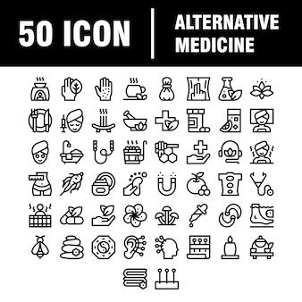 Conjunto de ícones. ícones em plano, contorno, fino e linear. medicina alternativa. beleza natural. ícone isolado simples. para aplicativo de site.