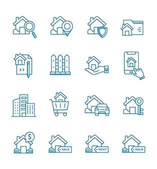 Conjunto de ícones imobiliários com estilo de estrutura de tópicos.