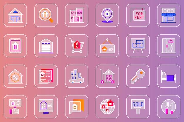 Conjunto de ícones imobiliários da web glassmorphic