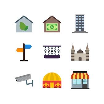 Conjunto de ícones imobiliários em branco vetor elementos isolados