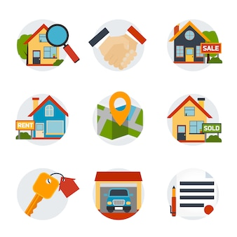 Conjunto de ícones imobiliários