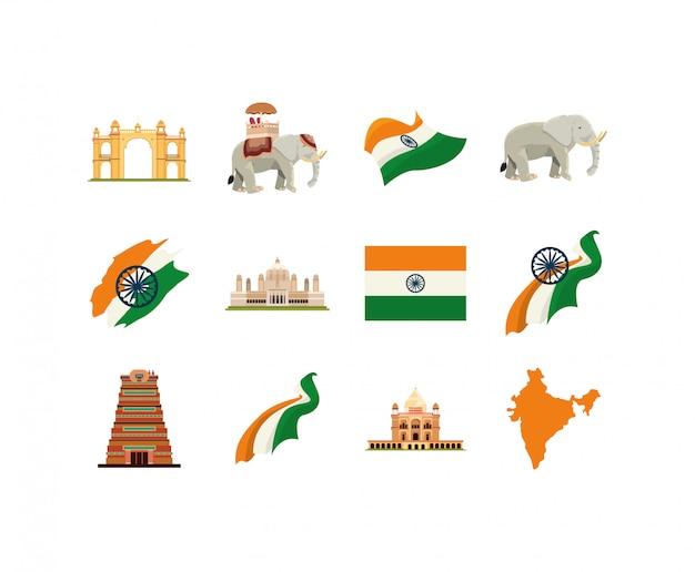 Conjunto de ícones indianos isolados
