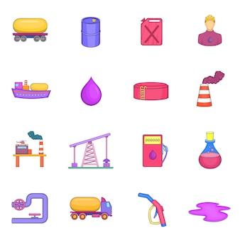 Conjunto de ícones industriais de óleo