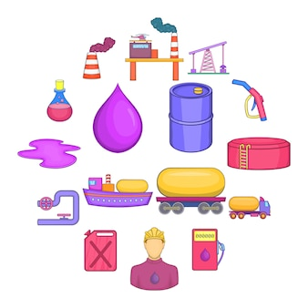 Conjunto de ícones industriais de petróleo, estilo cartoon