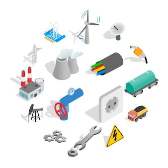 Conjunto de ícones industriais, estilo isométrico