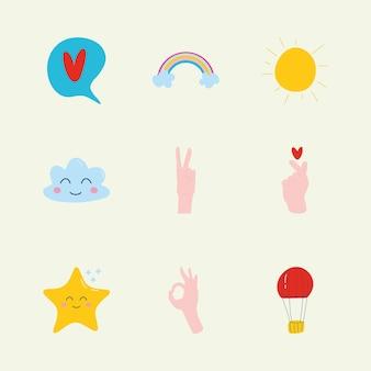 Conjunto de ícones infantis fofos