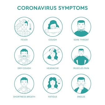 Conjunto de ícones infográfico de sintomas de coronavírus.