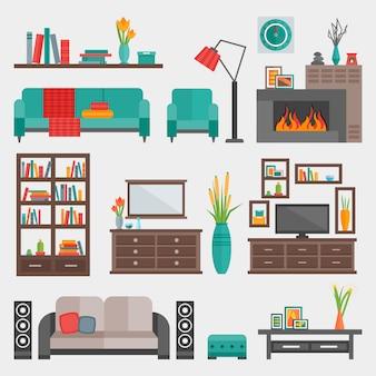 Conjunto de ícones interiores de móveis planos
