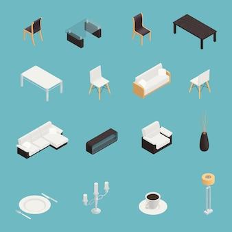 Conjunto de ícones interiores de sala de jantar
