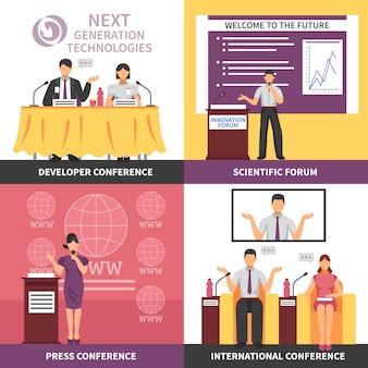 Conjunto de ícones interiores de salão de conferências