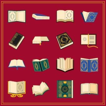 Conjunto de ícones islâmicos do livro sagrado do alcorão