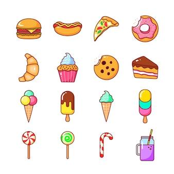 Conjunto de ícones isolados de comida de um café e fast food em um fundo branco. ilustração dos desenhos animados de vetor plana.