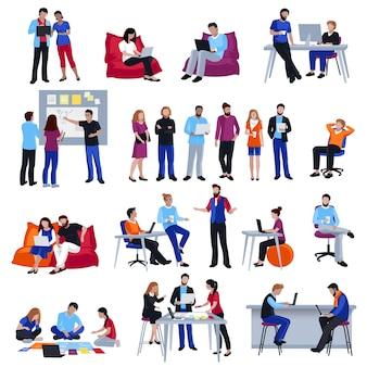 Conjunto de ícones isolados de coworking pessoas