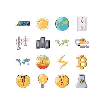 Conjunto de ícones isolados de dinheiro e bitcoin vector design