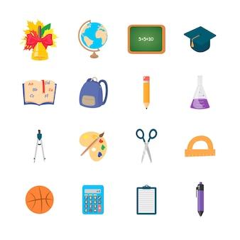 Conjunto de ícones isolados de educação em um fundo branco. ilustração em vetor plana.