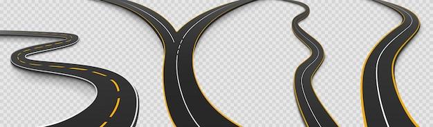 Conjunto de ícones isolados de estrada, estrada sinuosa e bifurcação