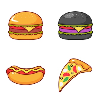 Conjunto de ícones isolados de hambúrguer, pizza e cachorro-quente em um fundo branco. ilustração dos desenhos animados de vetor plana.