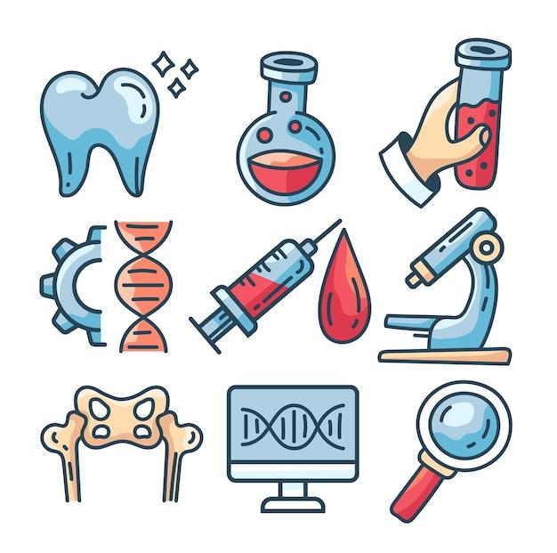 Conjunto de ícones isolados de linha de medicamento ilustração em vetor plana dos desenhos animados