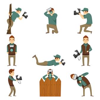 Conjunto de ícones isolados de personagens de fotógrafo