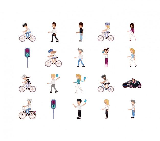 Conjunto de ícones isolados de pessoas e veículos