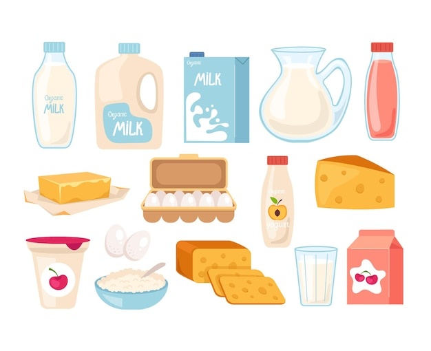 Conjunto de ícones isolados de produtos lácteos