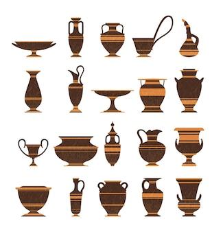 Conjunto de ícones isolados de vasos de ânforas de cerâmica da grécia antiga