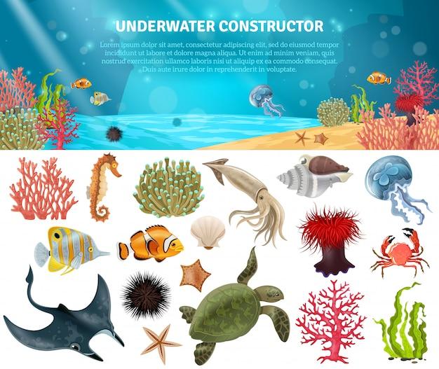 Conjunto de ícones isolados de vida marinha construtor