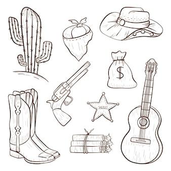 Conjunto de ícones isolados do vetor em estilo country. elementos de design de caubói em estilo de linha de arte. contorne a impressão do faroeste ou adesivos de decoração.