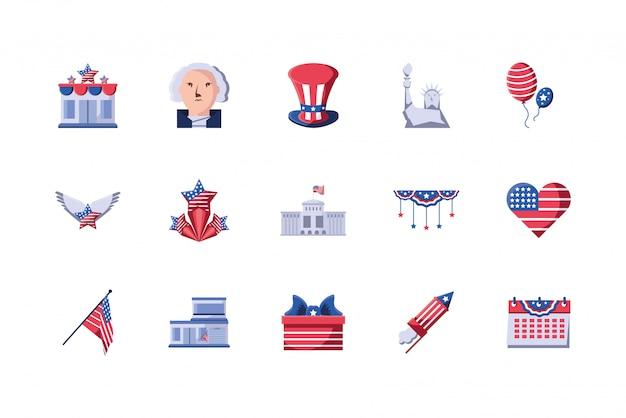 Conjunto de ícones isolados eua