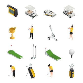Conjunto de ícones isolados isométricos coloridos de golfe de acessórios e equipamentos de golfistas