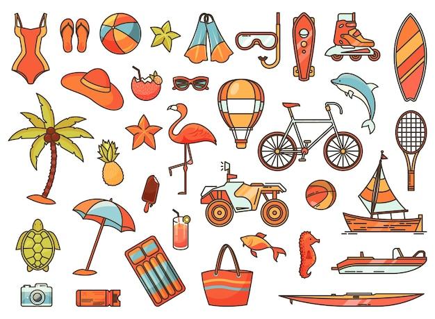 Conjunto de ícones isolados para recreação ativa de verão ou férias no mar
