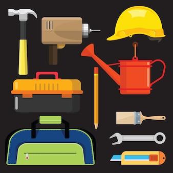 Conjunto de ícones isolados, reparação de ferramentas de construção