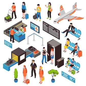Conjunto de ícones isométrica de aeroporto