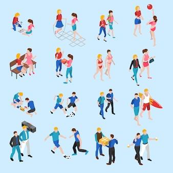 Conjunto de ícones isométrica de amigos